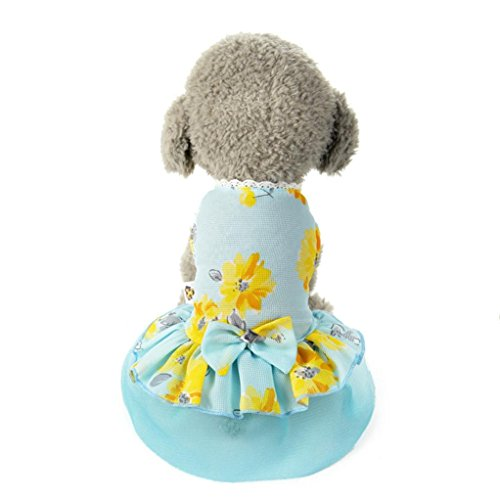 Pet Clothes, OOEOO Dog Cat Bow Apparel Tutu Dress Lace Skirt Pet Puppy Princess Costume (Blue, S)]()