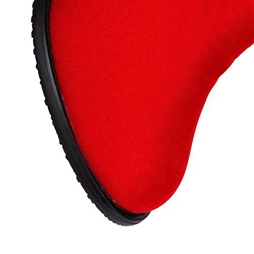 AllhqFashion Mujeres Cremallera Puntera Redonda Gamuza(Imitado) Caña Baja Botas Rojo