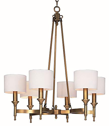 - Maxim 22375OMNAB Fairmont 6-Light Chandelier, Natural Aged Brass Finish, Glass, CA Incandescent E12 Incandescent Bulb , 22+32W Max., Dry Safety Rating, 3000K Color Temp, Acrylic Shade Material, 3000 Rated Lumens