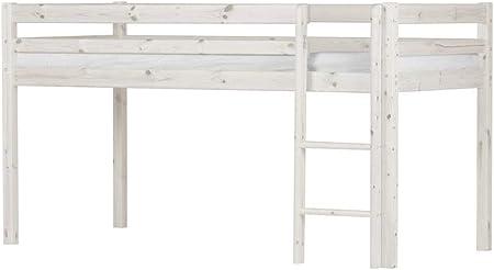 FLEXA BASIC 80-06301-2 - Cama infantil (barnizada, con escalera recta), color blanco: Amazon.es: Hogar