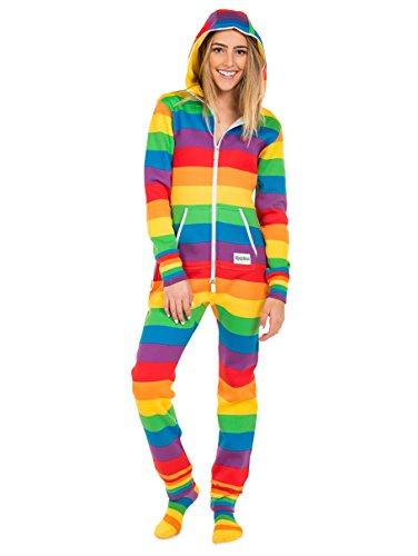 Tipsy Elves Women's Comfy Rainbow Jumpsuit Costume Outfit (Large)
