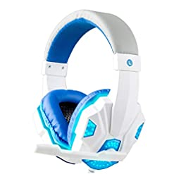 XuBa 3.5mm Earphone Gaming Headset Gamer Stereo Gaming Headphone with Microphone LED White and blue