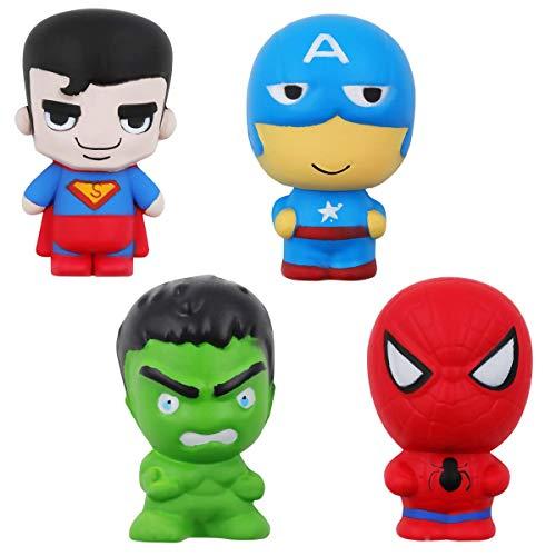 POKONBOY Jumbo Squishies Super Hero Toys - 4 Pack Squishies Slow Rising Toys Squishy Toys Boys Girls Kids Cute Kids Doll Stress Relief Toy