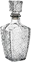 Botella Whisky Cristal Vidrio para Licores Licorera Decantador Vintage 0.8L Coñac Brandy Tallado - Jarra Licor Diseño Clasica Transparente Vino Vozka - Chupitos Ideal Botellas Regalo Decoracion.