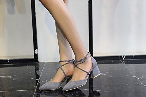 Mila Dame Paula Dorsay Strappy Ankelen Eleganse Plattform Dame Lav Heeled Punkt Tå Pumper Sko! Grå
