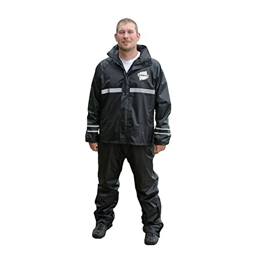 Dowco Guardian 26048-00 Deluxe Water Resistant Reflective Rain Suit, Black, Large