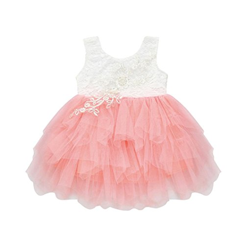 SMALLE◕‿◕ Clearance,Flower Baby Girls Princess Bridesmaid Pageant Birthday Party Lace Wedding Dress