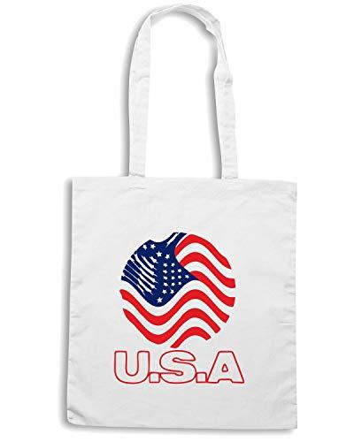STATI WC0112 UNITI Borsa USA Bianca UNITED STATE Shopper wgFq1I