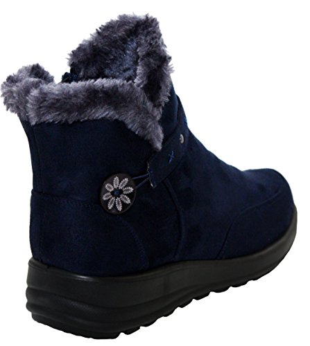 Lined Warm Womens Navy Girls Lightweight 8 3 Walk Comfort Up Ladies Sizes Ankle Winter UK Zip Cushion Casual Fur Boots x0znx