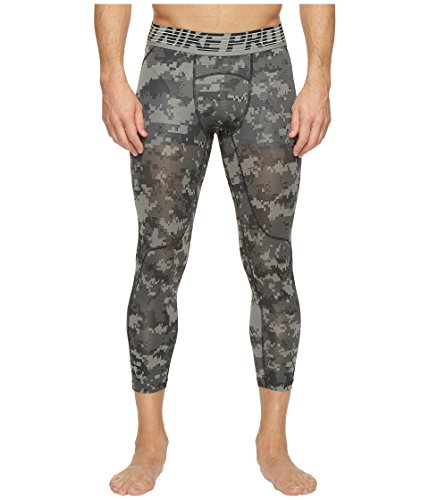 (NIKE Mens Pro Hypercool 3/4 Digi Camo Tights Tumbled Grey/Black 828166-037 Size Large)
