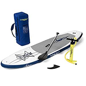 Lucky Bums Blue Inflatable Stand Up Paddle Board iSUP Kit Includes Paddle Board with Drop-Stitch Paddle Board, Pump, Storage Backpack, and More, 9'