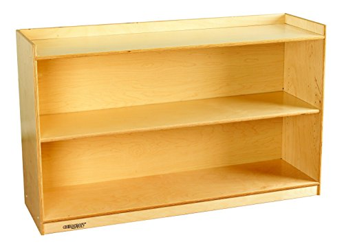Childcraft 1464171 Adjustable Mobile Book Case with Lip, 2-Shelf, Wood, 47-3/4'' x 14-1/4'' x 30'', Natural Wood Tone by Child Craft