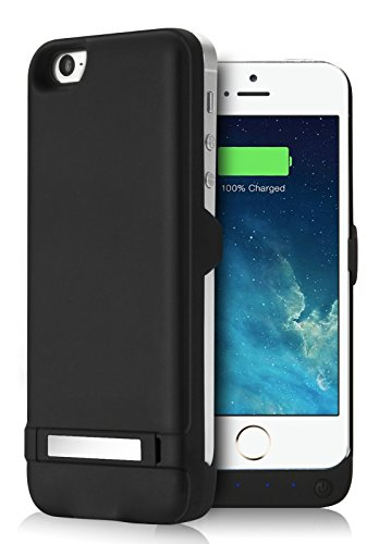 YISHDA iPhone 5SE 5S 5C 5 Battery Case, 4200mAh Extended Rechargeable Battery Case with USB Power Bank & Pop-out Kickstand for iPhone SE 5S 5C 5 - Black [ 18 Month Warranty]