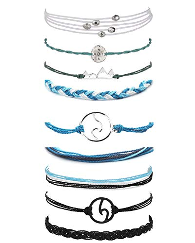 choice of all 3 Pcs Summer Surfer Wave Bracelet Adjustable Friendship Bracelet Handcrafted Jewelry Women (M:Mountain+Blue+Black)