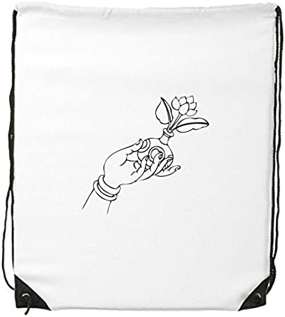 Buddhism Religion Buddhist Hand Flower Vase Line Drawing Simple Illustration Pattern Drawstring Backpack Fine Lines Shopping Creative Handbag Shoulder Environmental Polyester Bag Amazon Co Uk Sports Outdoors