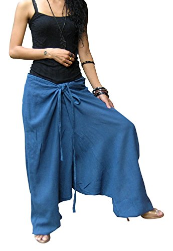Billy's Thai Shop Women's Thai Harem Aladdin Baggy Style Yoga Trousers One Size Fits Most. Blue (Billy Blues Wide Leg)
