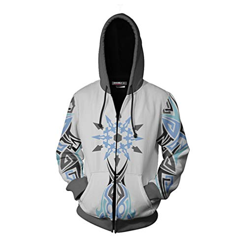 unbrand Zipper Hoodie with hat Zipper Jacket Fashion Fashion Fashion Personality Hoodie (S) White]()