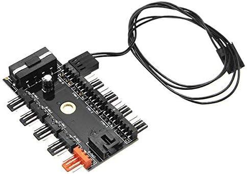 ILS - 12V 10 Camino de 4 pines Fan Controller Hub regulador de velocidad para la caja de la computadora con PWM de conexión del cable del ventilador de la CPU