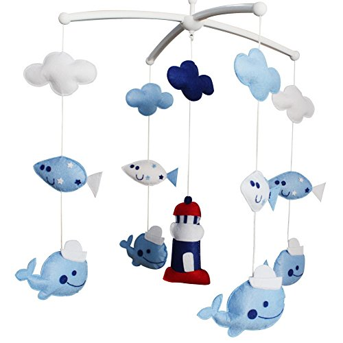 Baby Dream Musical Mobile, Colorful Baby Gift, [Lighthouse and Whales] (Nautical Mobile For Crib)