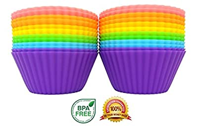 Simple Baker - 24 Pack - Premium Silicone Baking Cups / Cupcake Liners with Clear Storage Container - 6 Vibrant Colors