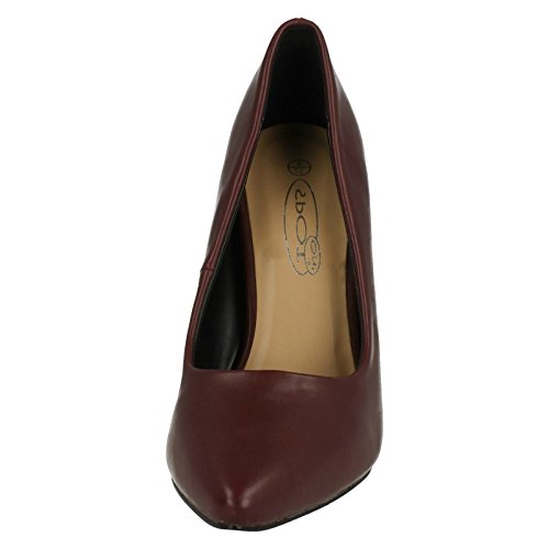 Spot On Ladies High Heel Shoes Burgundy (Red) dKDlFw