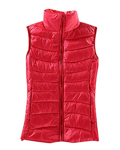 AnyuA Women's Sleeveless Body Warmers Padded Gilets Down Puffer Jacket Coat Zipper Vest Red