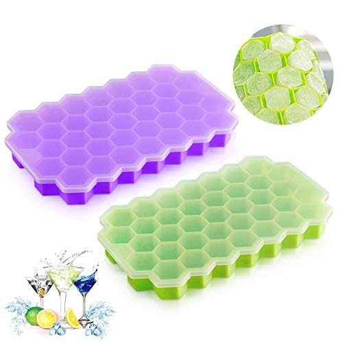 Ice Cube Trays Silicone DaCool Ice Mold with Lids 2 Packs 74 Cubes Totally Easy-Release Flexible Spill-Resistant Stackable Durable BPA Free Stackable Durable and Dishwasher Safe - Green & Purple]()