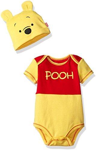 Disney Boys' Winnie The Pooh Bodysuit with Cap Set, Yellow, 12/18M - Pooh Suit