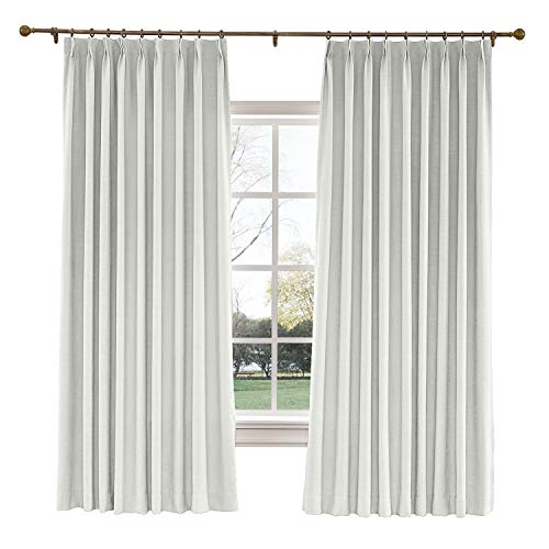 TWOPAGES 100 W x 84 L inch Pinch Pleat Darkening Drapes Faux Linen Curtains Drapery Panel for Living Room Bedroom Meetingroom Club Theater Patio Door (1 Panel),Ivory White