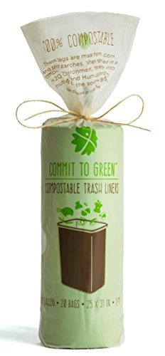 Commit to Green Super Strong Compostable Food Scrap Bags, 13 Gallon, Package of 20, 0.8mil Thickness ()