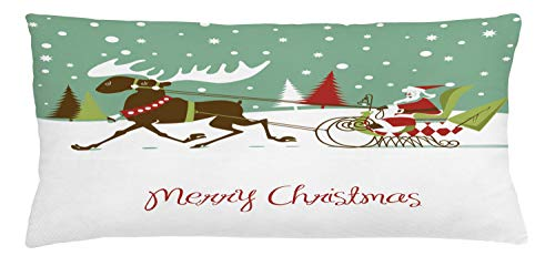 (Lunarable Texas Throw Pillow Cushion Cover, Merry Christmas Lettering Santas Sleigh with Reindeer Snowy Woods Retro Style, Decorative Accent Pillow Case, 36 X 16 Inches, Multicolor)