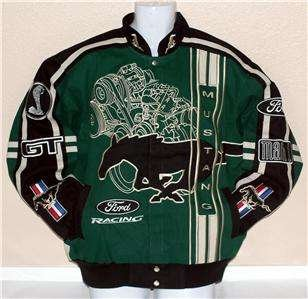 Ford Mustang Gt Mach  Cobra Car Racing Adult Cotton Jacket Green Black