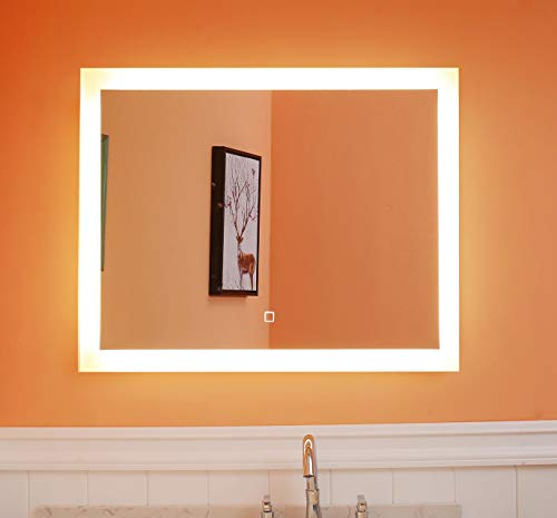 Lighted Bathroom Mirror Dimmable Wall Mounted LED Mirror GS084D-3628-3000K Warm White 36 X28 inch with Memory Function