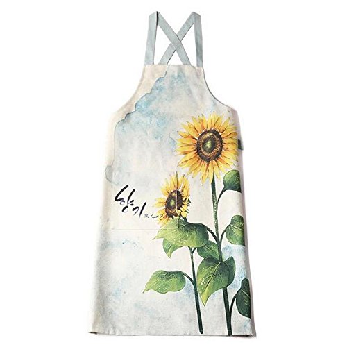 Sunflower Apron - Luchuan Warm Sunflower Polyester Linen Kitchen Apron for Women with Side Pocket and Cross Strap (Sunflower)