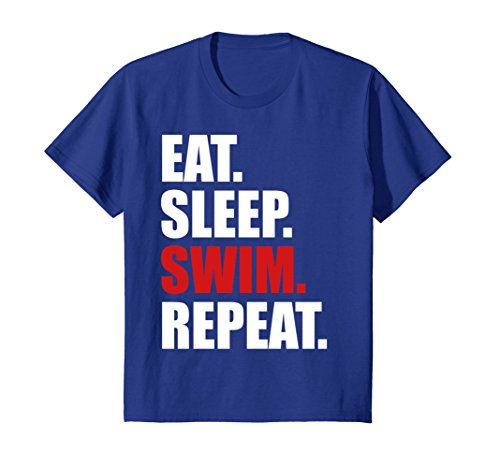 Price comparison product image Kids Eat Sleep Swim T-Shirt for Mens Womens Swimming Boys Toddler 10 Royal Blue