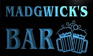 w147715-b MADGWICK Name Home Bar Pub Beer Mugs Cheers Neon Light Sign