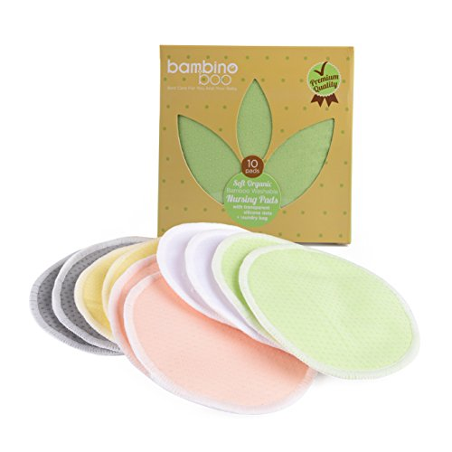 Bambino Boo Organic Bamboo Nursing Pads (10 Pack) | Washable, Soft, Breathable & Absorbent Breastfeeding Pads | Silicone Dots for Stability | Leakproof Outer Layer for Dry Breast | Bonus Laundry Bag