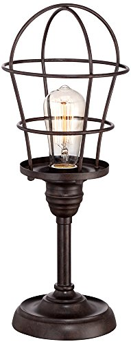 "Modern Industrial Desk Table Lamp 17 1/4"" High Bronze Wire Cage Edison Bulb for Bedroom Bedside Office - Franklin Iron Works - Overall: 17 1/4"" high. Wire cage is 6 3/4"" wide. Includes one 60 watt Edison style bulb. May also be used with any 60 watt max standard base bulb. In-line on-off switch. Small accent table lamp size ideal for side tables. - lamps, bedroom-decor, bedroom - 41KC p0DLFL -"