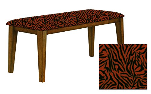 "Oak Finish 19"" Tall Universal Bench Featuring a Padded Seat Cushion With Your Choice of an Animal Print Fabric Covered Seat Cushion (Orange Zebra Fleece) by The Furniture Cove"