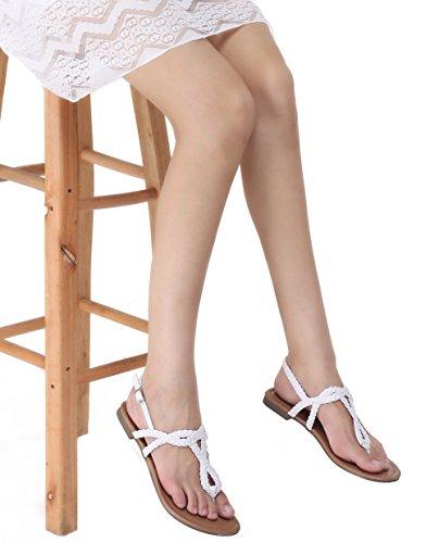 Abusa Dames Lederen / Suede Opvouwbare Sandalen Schoenen Sandalen-wit Leer