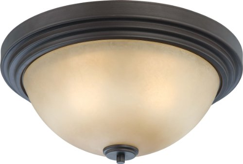 Nuvo Lighting 60/4132 Three Light Harmony Large Flush Dome with Saffron Glass, CUL Damp Location, Dark Chocolate Bronze (Forward Light Mount 3 Ceiling)