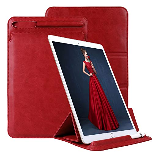 Labato iPad Pro 11 inch Case Sleeve with Apple Pencil Holder,PU Leather Ultra-Thin Trifold Stand Cover Sleeve Case Bag for iPad Pro 11 Inch 2018-Red