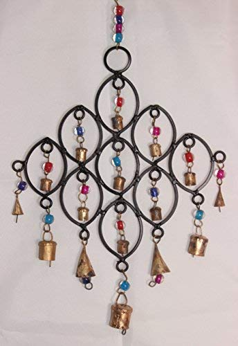 Namaste Recycled Wind Chime With Glass Beads And Bells Fair Trade