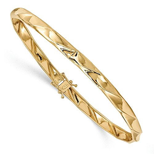 ICE CARATS 14k Yellow Gold Twisted Bangle Bracelet Cuff Expandable Stackable Hinged Fine Jewelry Ideal Mothers Day Gifts For Mom Women Gift Set From Heart (14k Yellow Bangle Twisted Gold)