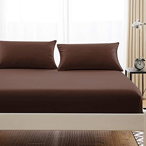 ボックスシーツ 毛玉なし 綿100% シーツ マチ部分約30cm ベッドシーツ マットレスカバー ベッドカバー (クイーン・160X200cm, ブラウン)