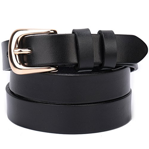 Black Thin Buckles - Beltox Fine Women's Full Grain Leather Solid Color Belt 22MM Gold Buckle Gift Box