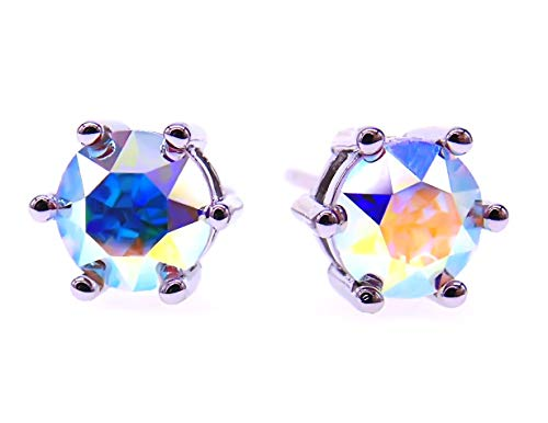 035 6mm White Gold Plated 925 Sterling Silver Plt,Imported Created Iridescent Multi-Coloured AB Crystal Stone,Earring Stud with Gift Box,Men Women