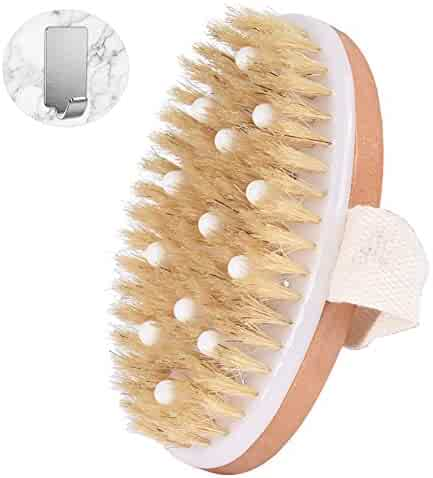 Shower Brush Soft, Exfoliating Bath Brush with Self Adhesive Stainless Steel Hook for Exfoliating Skin and A Soft Scrub for Wet or Dry Brushing