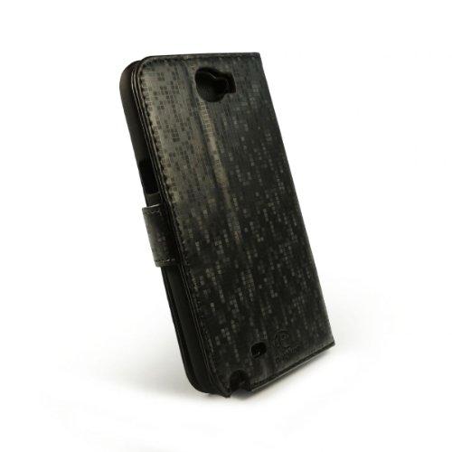 E-volve Etui Style portefeuille pour Samsung Galaxy note 2 (N7100) - Pixel Noir