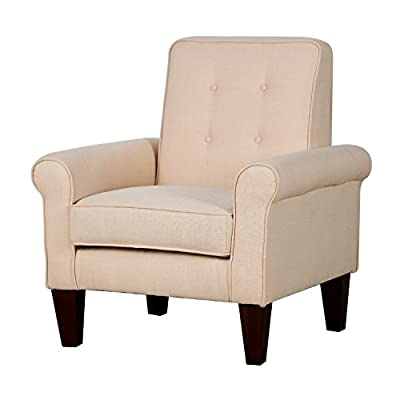 """HomCom Modern Upholstered Linen Tufted Accent Club Arm Chair - Cream White - ✅MODERN LEISURE DESIGN: This contemporary accent club chair features a textured and tufted linen fabric in cream white, a wide seat cushion, slightly tapered tufted back, and comfortable armrests. ✅TUFTED BACKREST: A padded backrest with minimal tufting provides complete comfort and support for a truly relaxing seating experience in your living room, den, or office space. ✅PLUSH AND UPHOLSTERED: Featuring an extra wide seat plush with 6.25"""" thick, high-density foam covered with a soft and breathable linen fabric, this chair is not only good looking, it's comfortable too. - living-room-furniture, living-room, accent-chairs - 41KC1y3bSUL. SS400  -"""